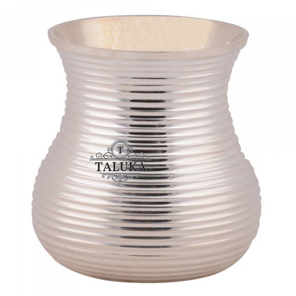 Brass Silver Plated Bottom Ribbed Water Glass Tumbler Cup 300 ML For Drinking