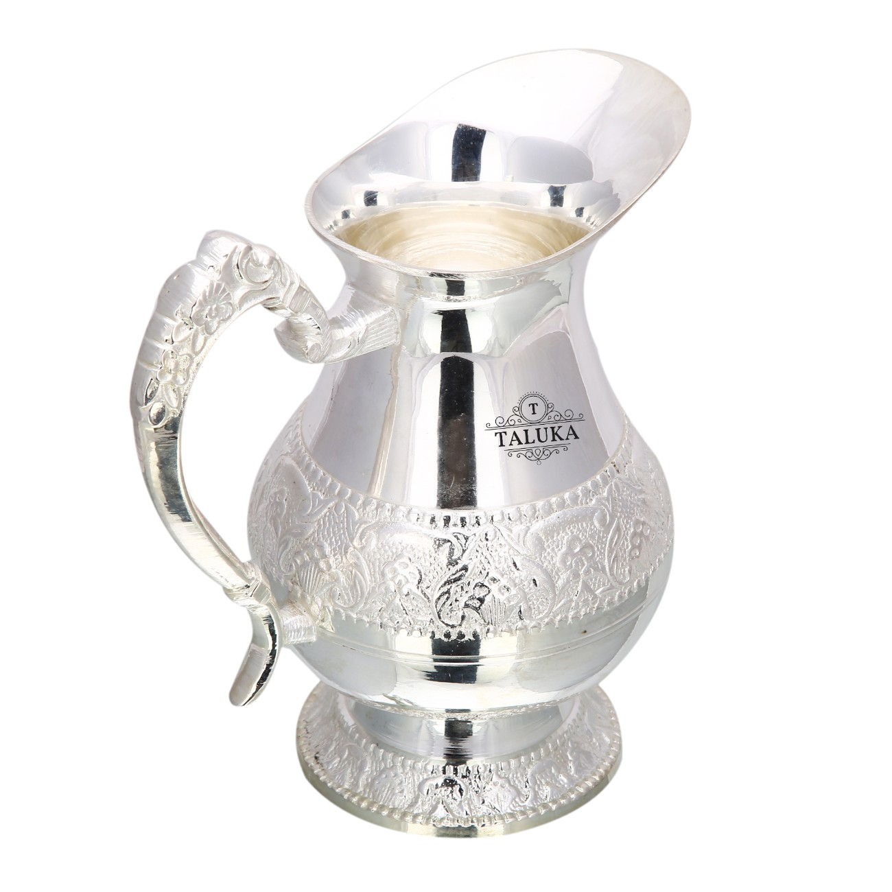 Brass Silver Plated Jug Water Pitcher For Storage 1500 ML For Home Hotel Gifting Purpose