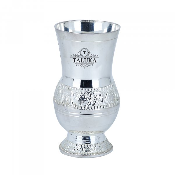Brass Silver Plated Water Glass Tumbler Cup 300 ML For Drinking Serving