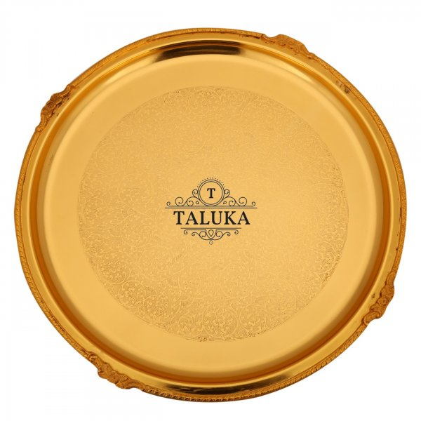 Brass Tray Serving Tray / Plate / Charger Round shape Elegant Royal Look