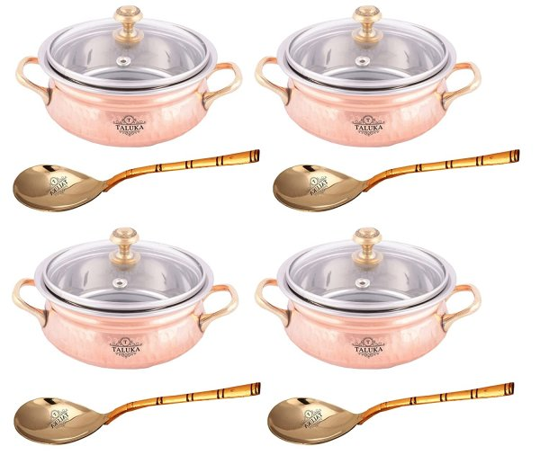 Taluka Pure Copper Handmade Designer Hammered Copper Casserole with Glass Lid Set of 4 Casserole with Serving Spoon for Serving Restaurant Hotel Home Ware Capacity :- 600 ml Each