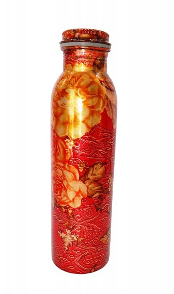 Copper Digital Printed Joint Free Drinking Water Bottle 1000 ML