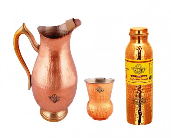 Copper Drinking Water Jug 2000 ML With 1 PC Copper Steel Round Bottom Glass 1 PC Hammer Leak Proof Bottle 1000 ML
