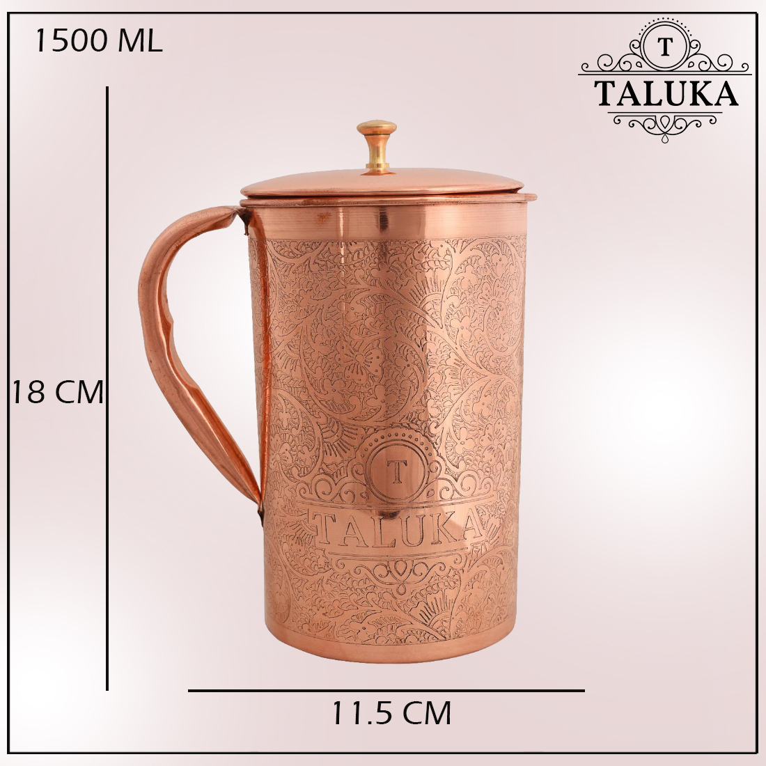 Pure Copper Embossed Water Jug Pitcher with Brass Knob 1500 ML || 2000 ML Water Storage Hotel Home Restaurant