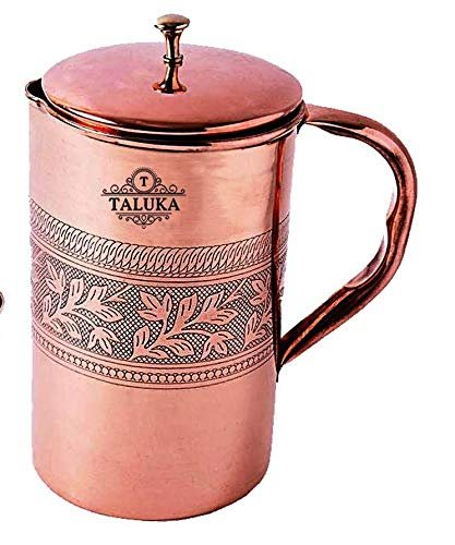 Copper Etching Embossed Design Jug Water Pitcher Drinking  Capacity: 1500 ML