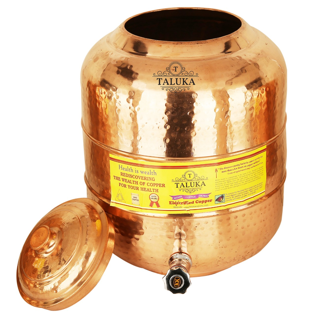 Copper Hammer Water Pot Tank Dispenser 6 Liter With 350 ML Glass 1 PC Dinkware