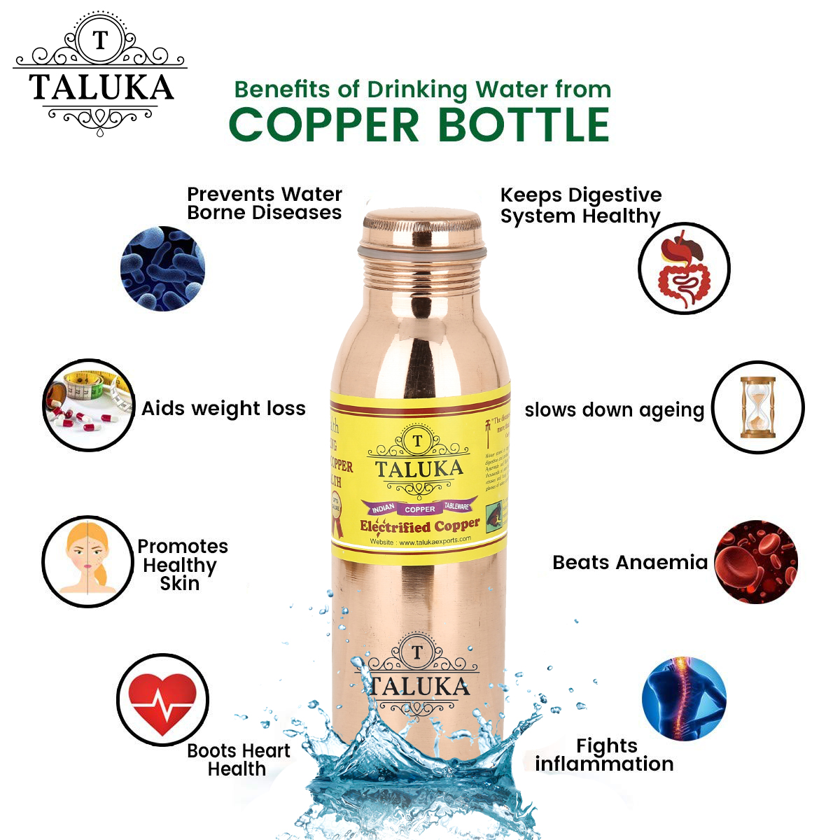 Pure Copper Handmade Leak Proof Joint Free Water Bottle