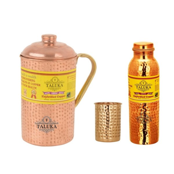 Copper Hammered Joint Free Leak Proof Water Bottle 1000 ML, Jug with Brass Handle 2000 ML with 1 PC Glass 300 ML