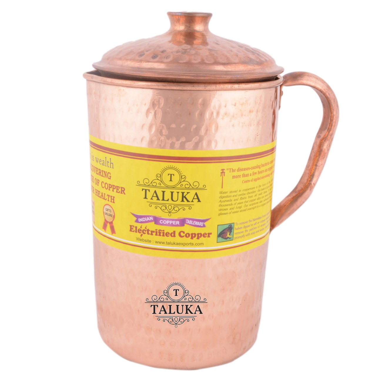 Copper Hammered Jug 2000 ML with 1 PC Leak Proof Water Bottle 1700 ML Storage water Good Health Benefit Yoga Ayurveda