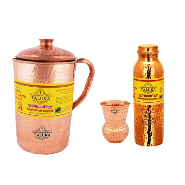 Copper Hammered Jug 2000 ML with Leak Proof Joint Free Water Bottle 1000 ML, with 1 PC Glass 300 ML - Storage water