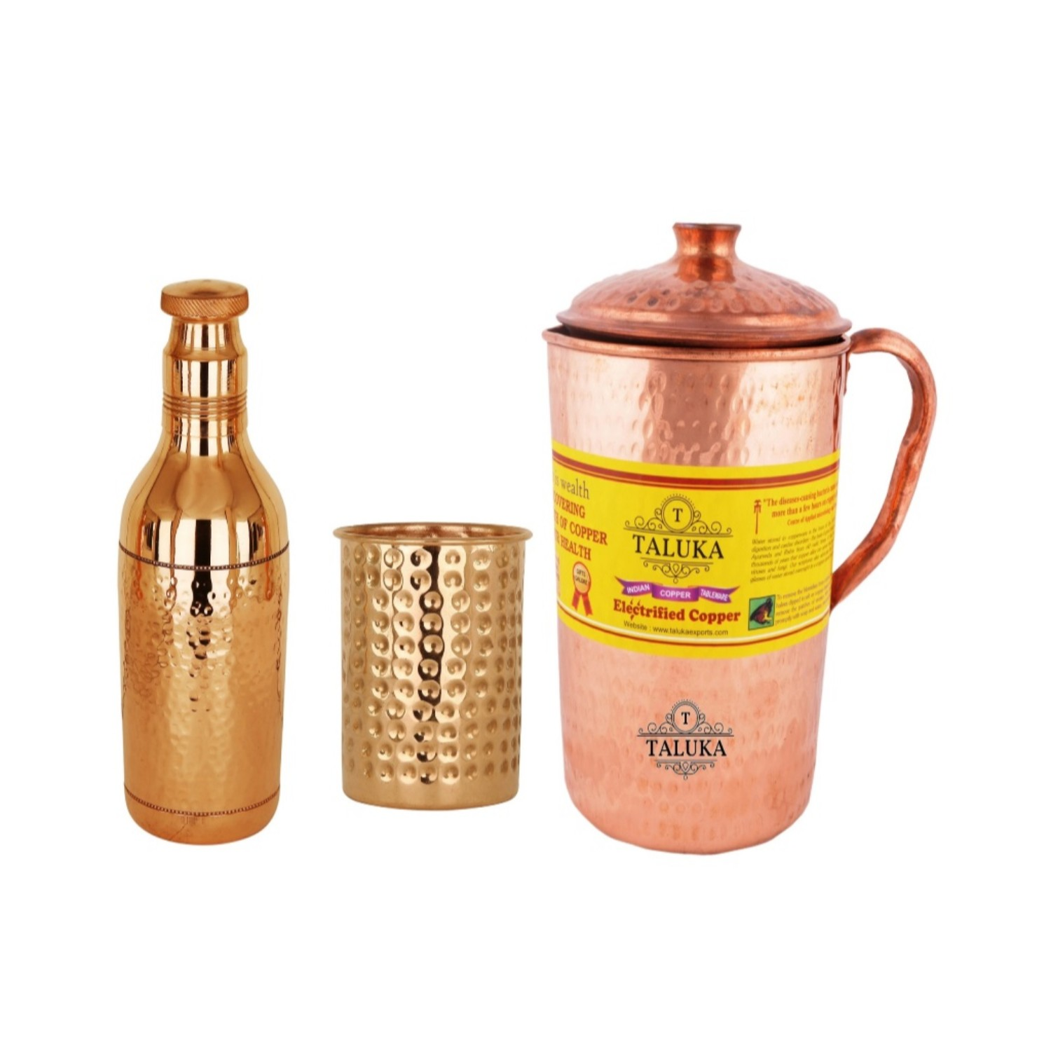 Copper Hammered Jug 2000 ML with Water Bottle 1700 ML, with 1 PC Glass 300 ML - Storage water Good Health Benefit Yoga Ayurveda