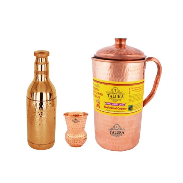 Copper Hammered Jug 2000 ML with Water Bottle 1700 ML, with 1 PC Round Bottom Glass 300 ML Good Health Benefit Yoga Ayurveda