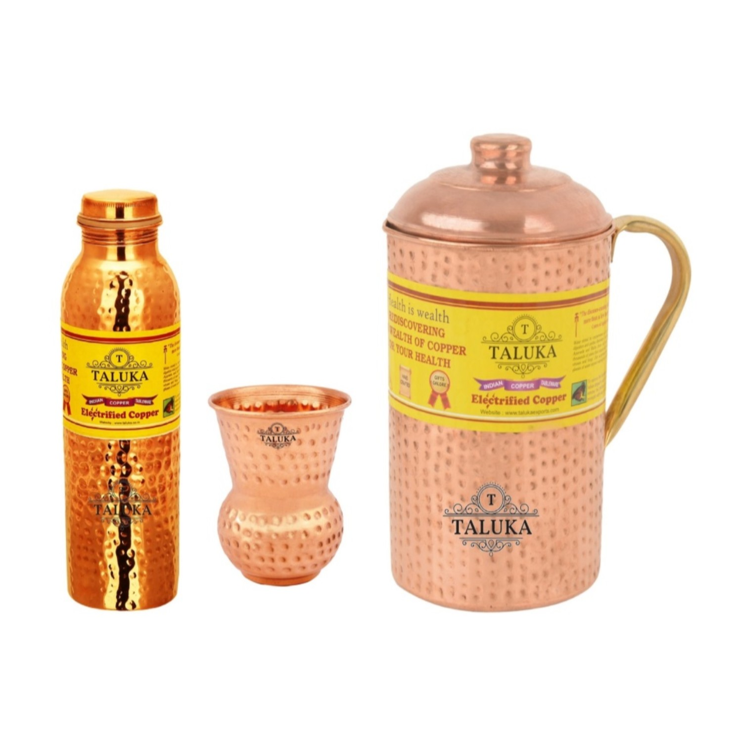 Copper Hammered Leak Proof Water Bottle 1000 ML, Jug with Brass Handle 2000 ML with 1 PC Round Bottom Glass 300 ML Tableware