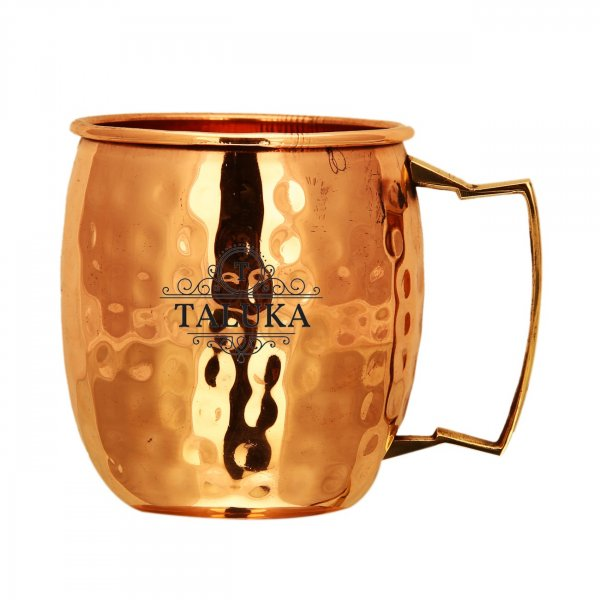 Copper Hammered Moscow Mule Mug With Brass Handle Wine Beer Cup For Bar Ware