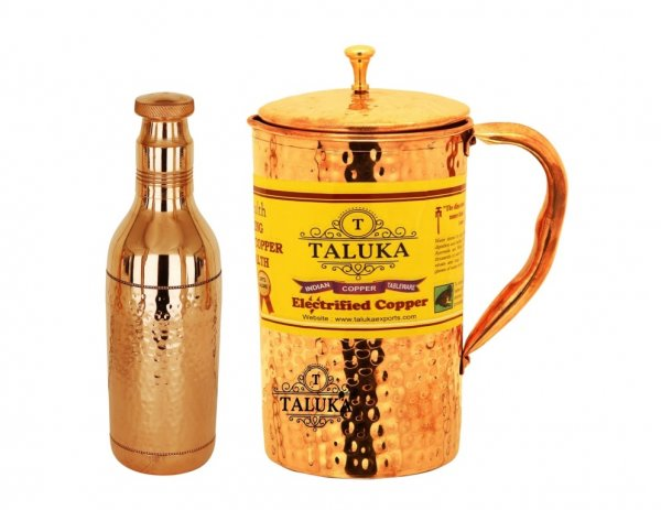 Copper Hammered Water Bottle 1700 ML 1 PC, 1 PC Copper Brass Lid Jug  2000 ML - Storage water Good Health Benefit