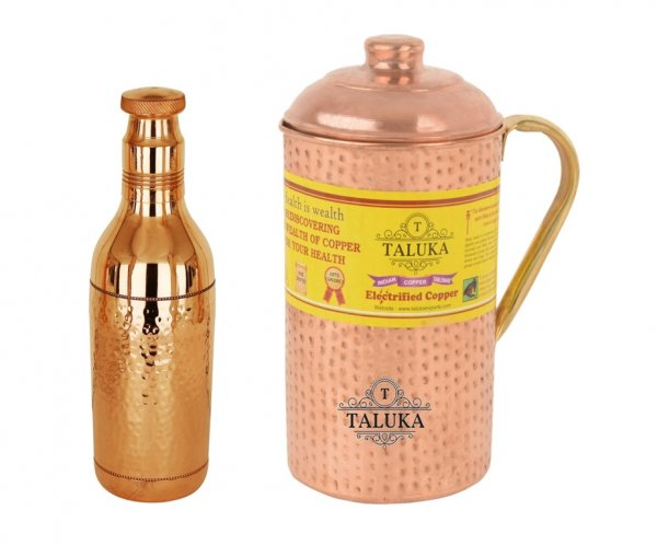 Copper Hammered Water Bottle 1700 ML 1 PC Bottle, 1 PC Copper Jug with Brass Handle 2000 ML Storage water Good Health Benefit