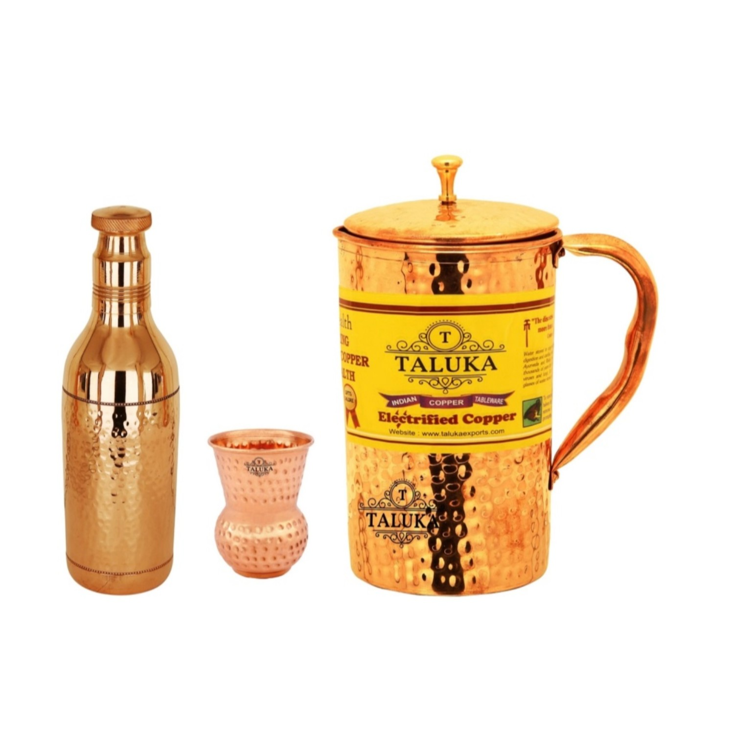 Copper Hammered Water Bottle 1700 ML, Jug  2000 ML with 1 PC Round Bottom Glass 300 ML - Storage water Pack Of 3
