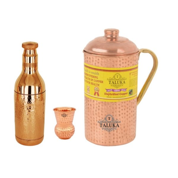 Copper Hammered Water Bottle 1700 ML, Jug with Brass Handle 2000 ML with 1 PC 300 ML Round Bottom Glass Water Storage