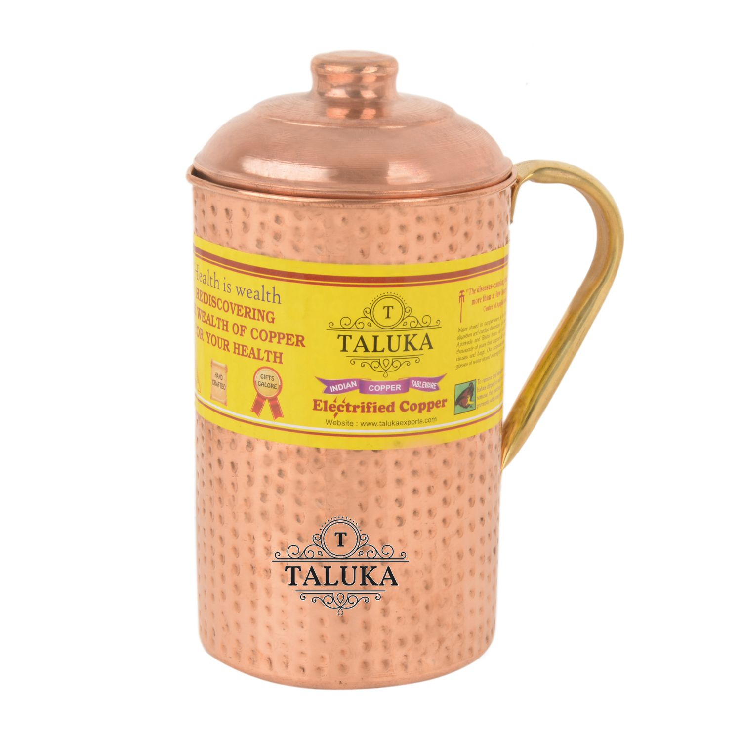 Copper Hammered Water Bottle 1700 ML, Jug with Brass Handle 2000 ML with 1 PC Glass 300 ML-Storage water
