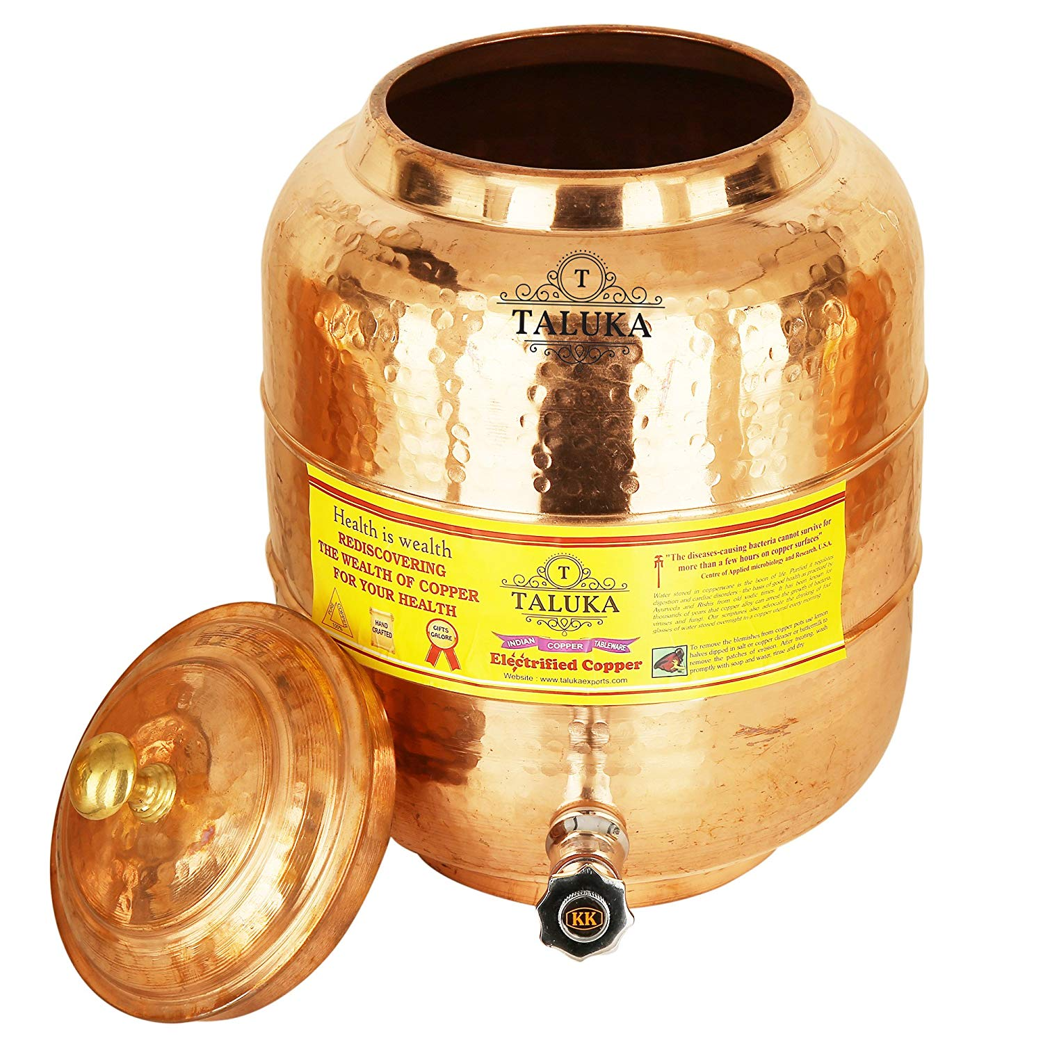 Copper Hammered Water Pot With Brass Knob Lid Water Storage Tank
