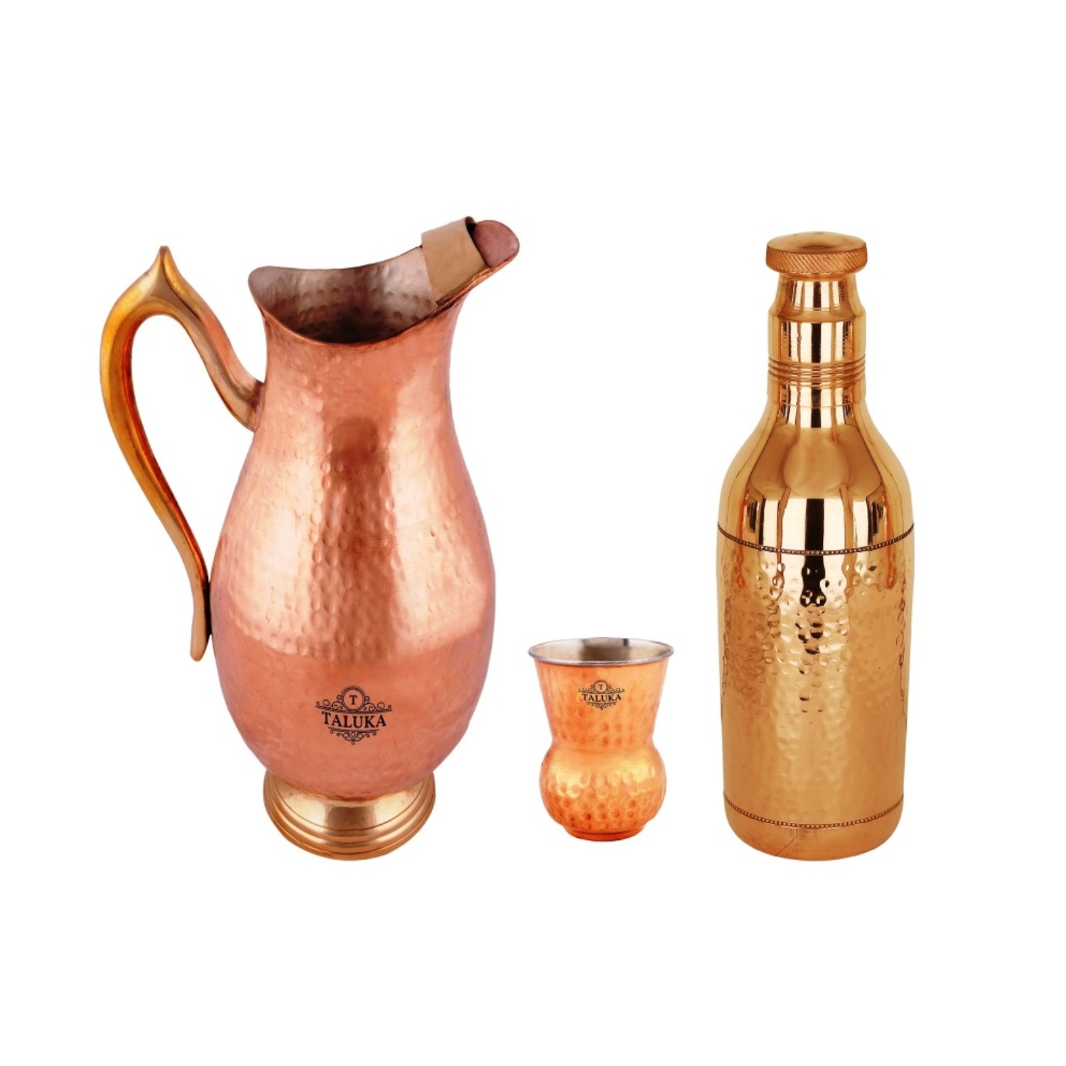 Copper Handmade 2000 Ml Drinking Water Jug With 1 PC Copper Steel Round Bottom Glass 1 Bottle 1700 ML For Health Benefits