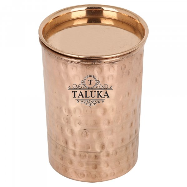 Copper Handmade Hammered Glass With Lid Tumbler Drinking Water