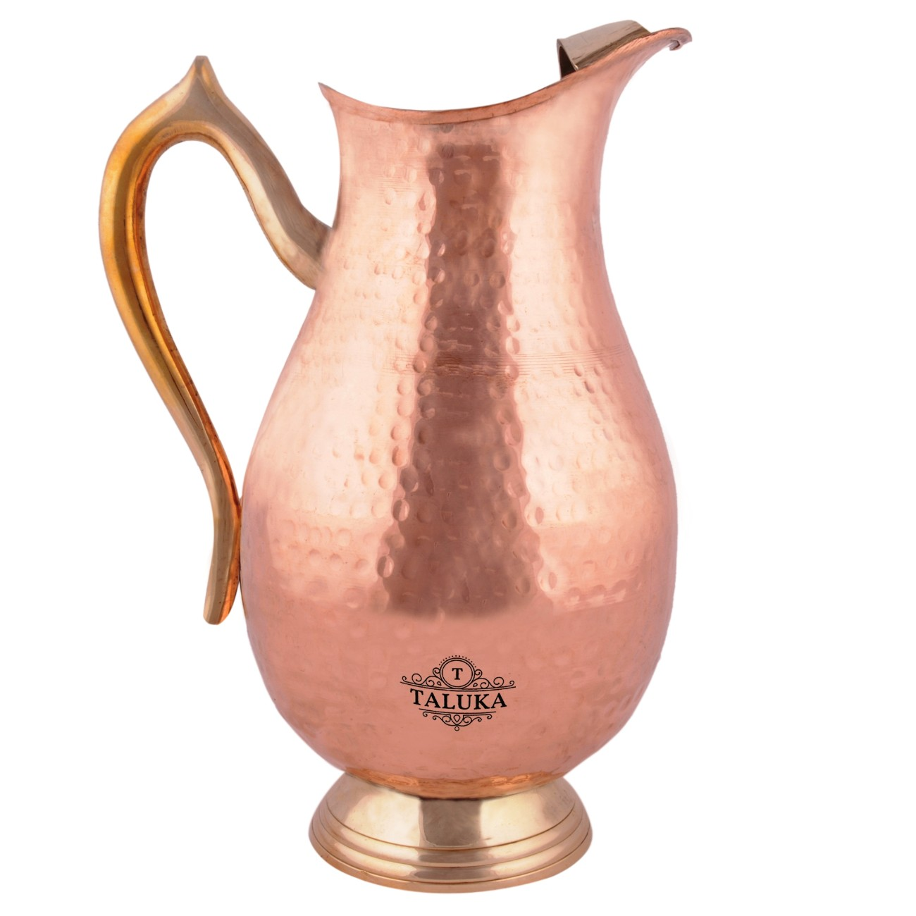 Copper Handmade Jug 2000 ML with 1 PC Hammer Water Bottle 1700 ML- Storage water Good Health Benefit Pack Of 2