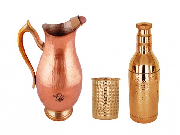 Copper Handmade Jug 2000 ML with Hammer Water Bottle 1700 ML with 1 PC Glass 300 ML - Storage water Good Health Benefit