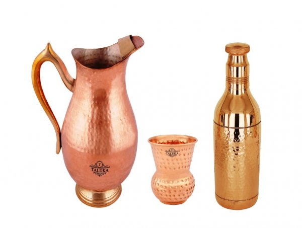 Copper Handmade Jug 2000 ML with Hammer Water Bottle 1700 ML, with 1 PC Round Bottom Glass 300 ML For Good Health Benefit