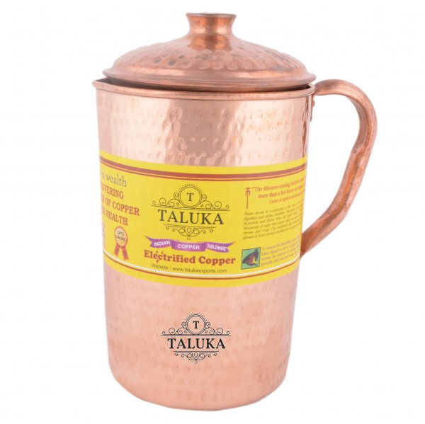 Copper Jug Hammered Design Pitcher Ayurveda Health Benefits Capacity: 1500 ML
