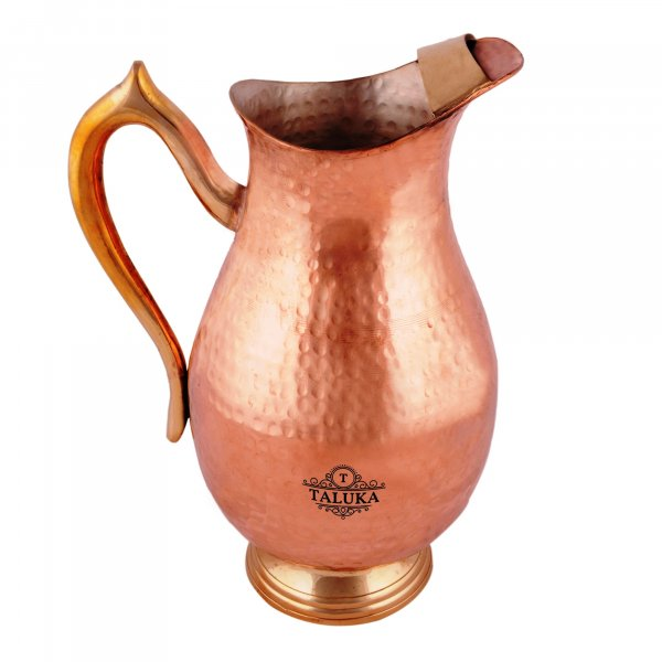 Copper Jug Hammered Muglai Design Water Pitcher With Brass Handle