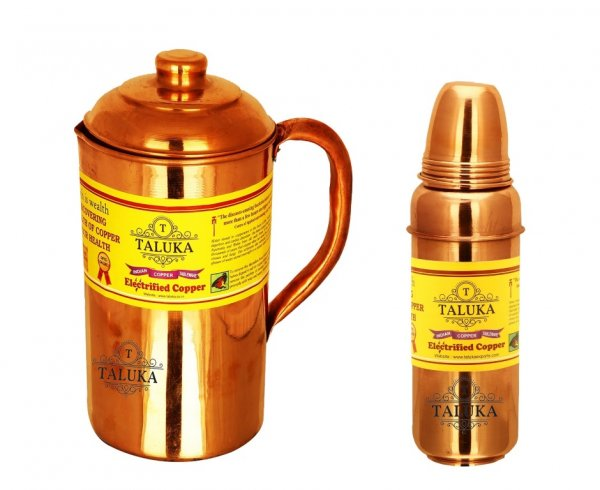 Copper Jug Pitcher 1500 ml with 1 Pc 800 ML Thermos Water Bottle Storage Drinking | Home Hotel Tableware Set Of 2