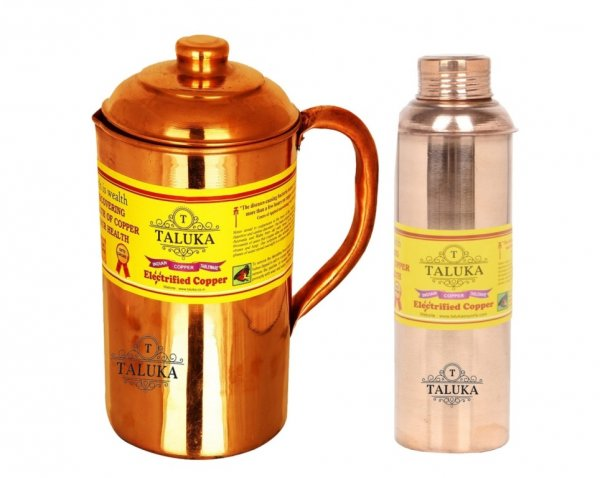 Copper Jug Pitcher 1500 ml with 1 PC 800 ML Water Bottle Storage Drinking | Home Hotel Restaurant Pack Of 2