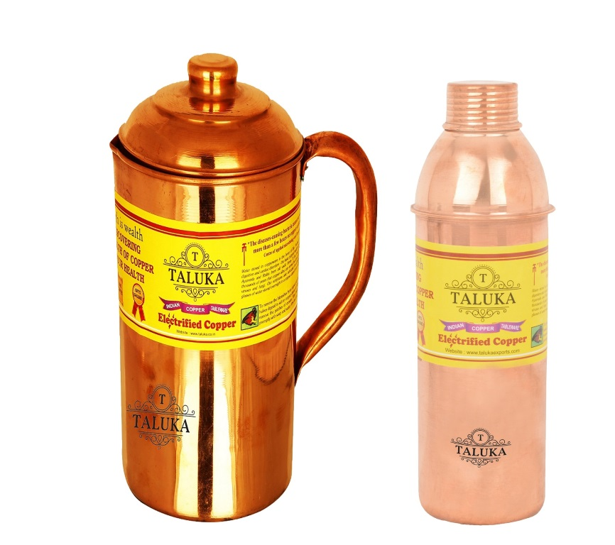 Copper Jug Pitcher 1500 ml with 1 PC 800 ML Water Bottle Storage Drinking | Home Hotel Tableware Pack Of 2