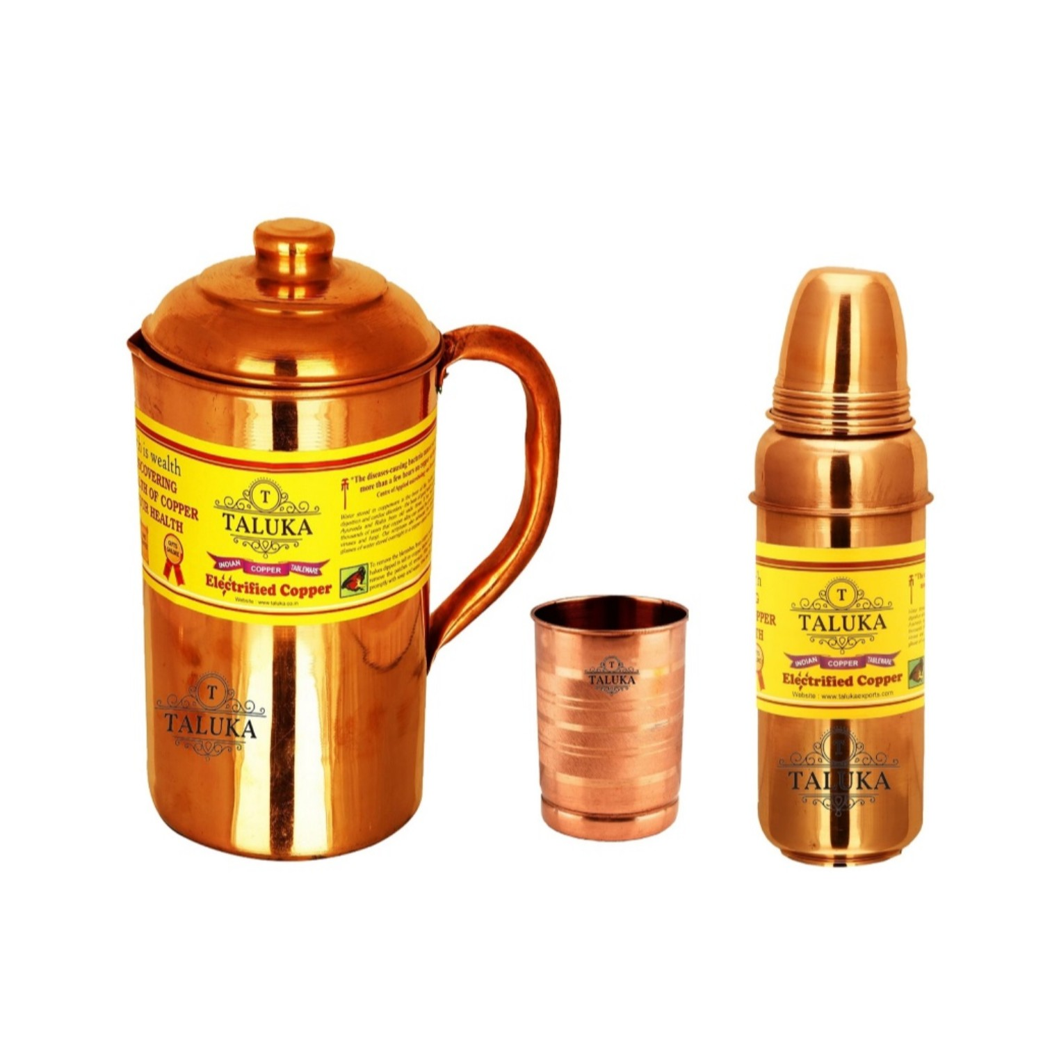 Copper Jug Pitcher 1500 ml with 1 PC Copper Glass Cup 1 PC Water Bottle Storage Drinking | Home Hotel Restaurant Tableware