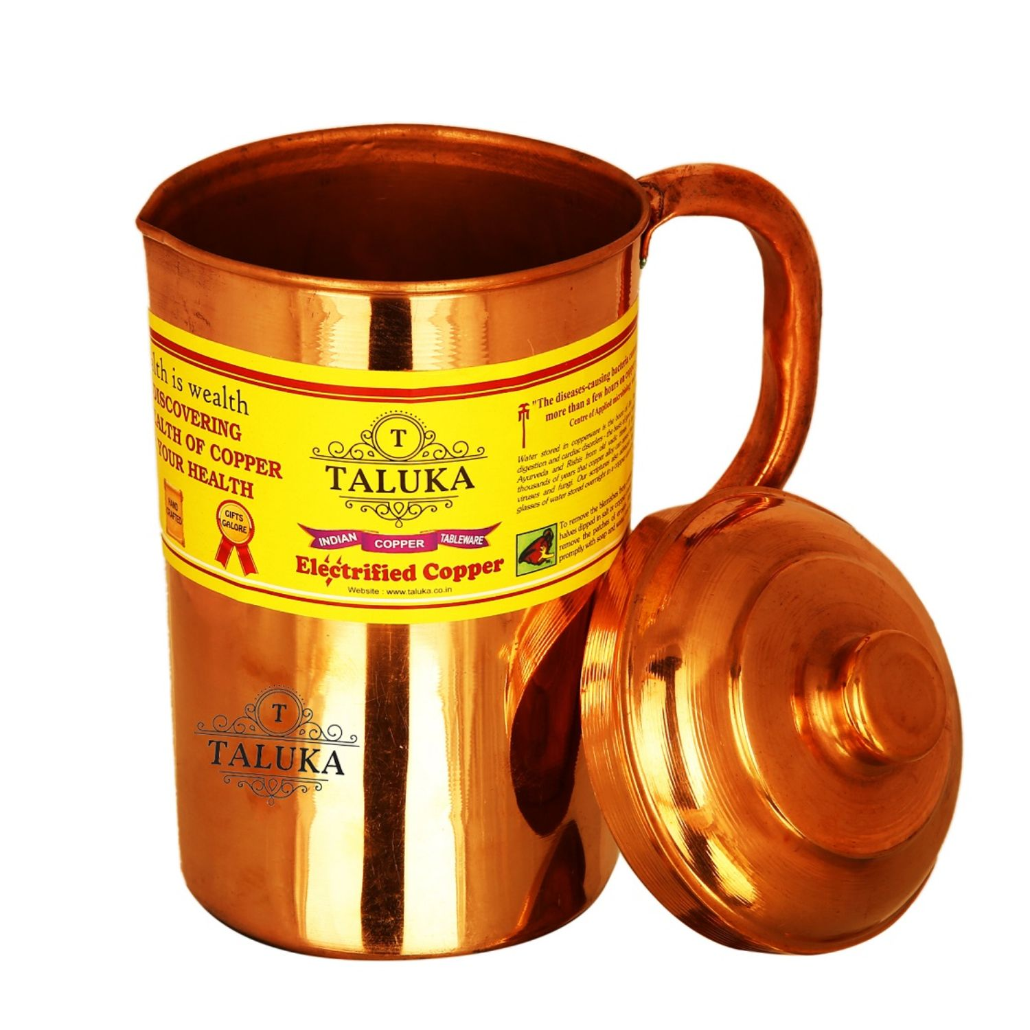 Copper Jug Pitcher 1500 ml with 1 PC Copper Glass Cup & 1 PC Water Bottle Storage Drinking Tableware