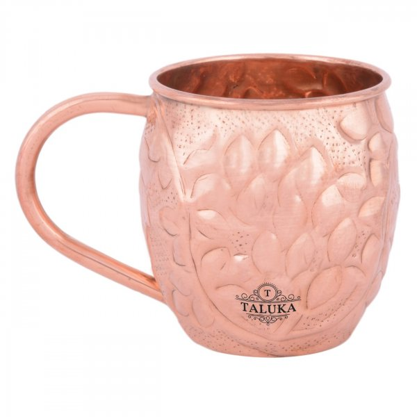 Copper Leaf Design Moscow Mule Wine Beer Mug For Bar Ware Restaurant Home Gift Purpose