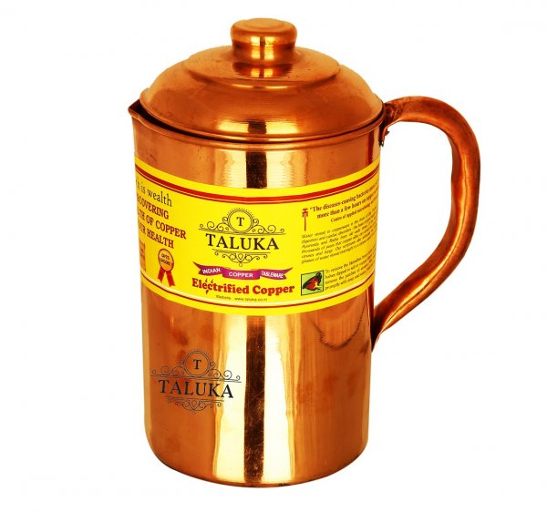 Copper Plain Jug Water Pitcher Drinking Health Benefits Capacity: 1500 ML