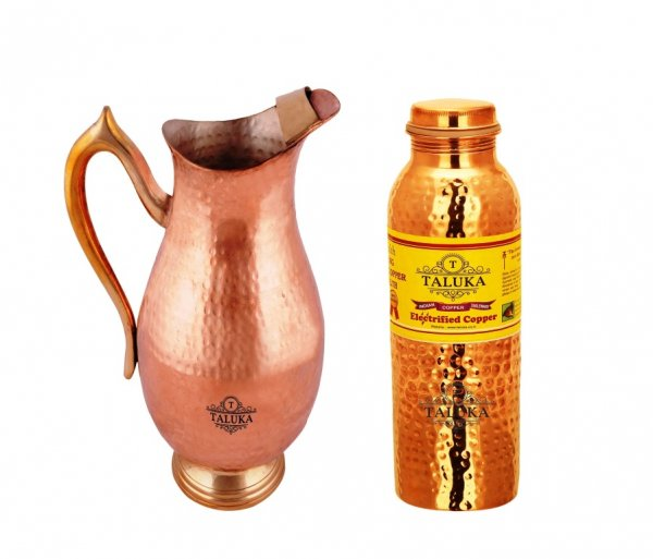 Copper Pitcher Jug 2000 Ml Drinking Water Storage With 1 PC Hammer Leak Proof Joint Free  Bottle 1000 ML