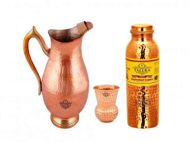 Copper Pitcher Jug 2000 Ml Water Jug With 1 PC Round Bottom Glass 1 Hammer Leak Proof Joint Free Bottle 1000 ML