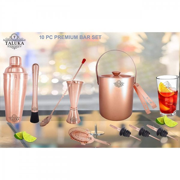 Copper Plated Wine and Cocktail Bar Set 10 Piece Combination Bar Set