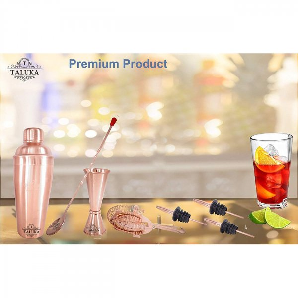 Copper Plated Wine and Cocktail Bar Set 7 Piece Combination Bar Set