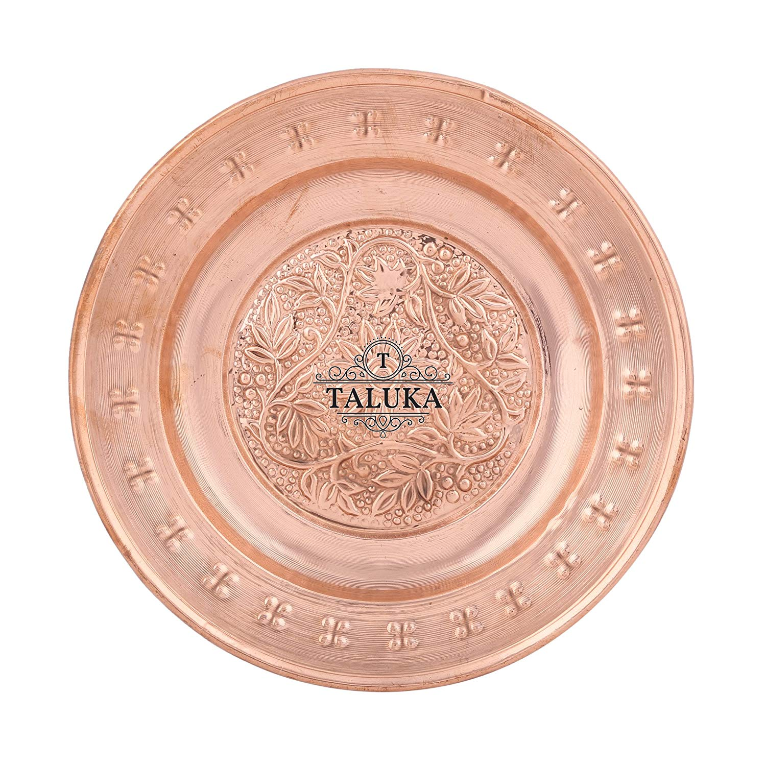 Copper Round Embossed Serving Plate For Tableware