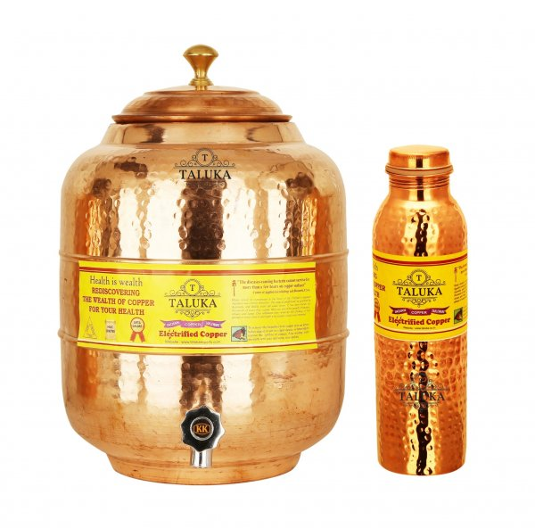 Copper Water Pot Tank 10 Liter 1 Hammer Leak Proof Water Bottle 1 Liter Storage