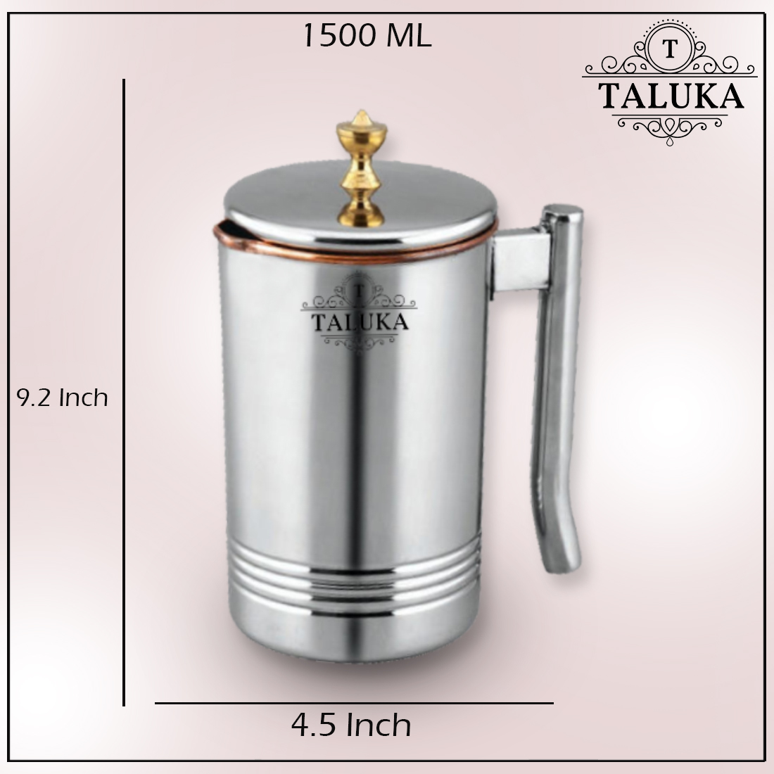 Copper Stainless Steel Jug With Brass Knob Lid Water Restaurant Hotel Ware Home Garden Kitchen Dinning
