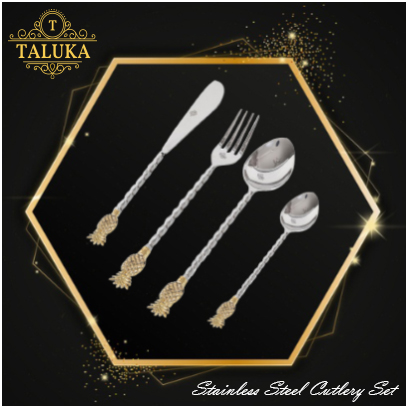 Premium Stainless Steel Mirror Finish Pineapple Design 24 Pcs Tableware Cutlery Set use Hotel | Home | Restaurant (6 Knives, 6 Forks, 6 Dessert Spoons and 6 Child Spoons)