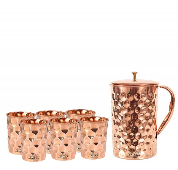 Taluka Copper Diamond Design Set of Jug 1500 ML with 6 Glass, Copper Drinkware Gift Set, Use Hotel Home Restaurant