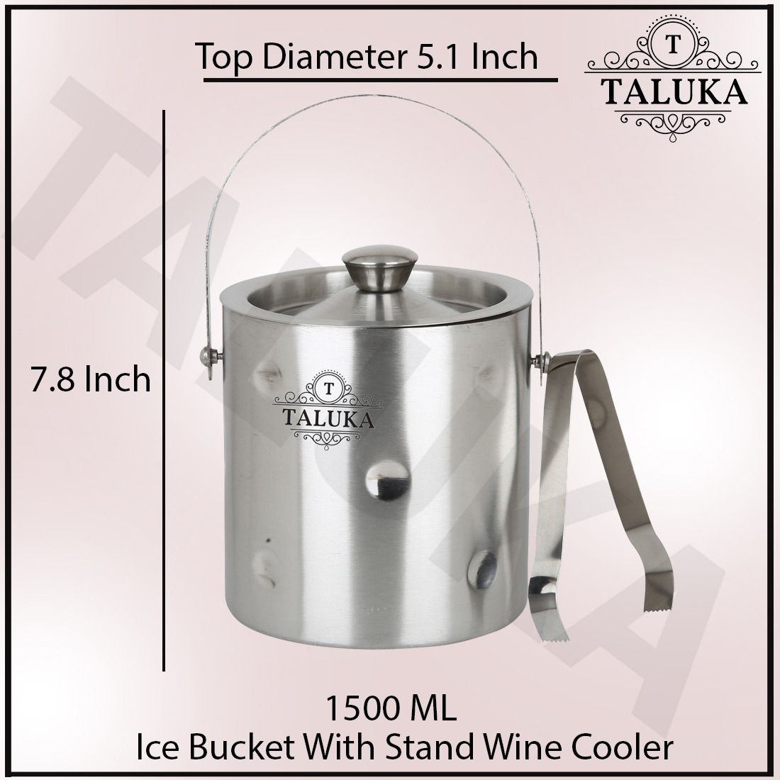 Stainless Steel Bubble Design Ice Bucket 1500 ML With Ice Tong Bar Ware