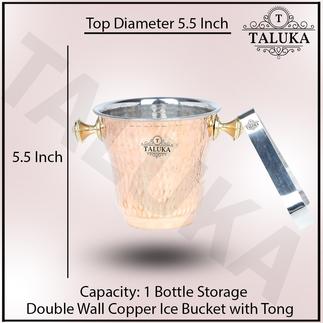 Copper Steel Ice Bucker 1500 ML With Ice Tong Bar Ware Restaurant Home Gift Purpose
