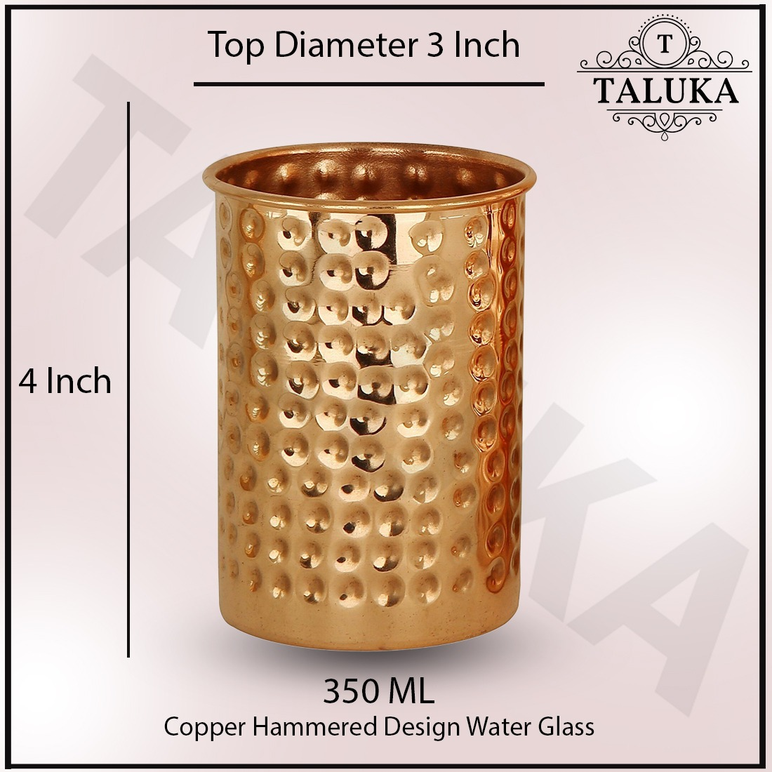 Handmade Copper Hammer Glass Cup/Tumbler, 350 Ml, Brown